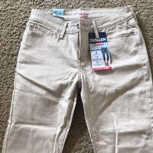 Levi's cropped jeans. Khaki.